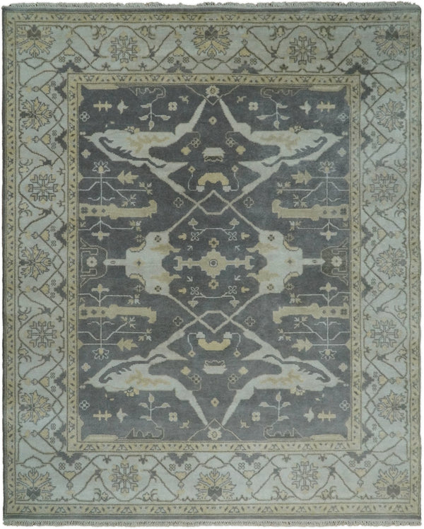 Hand Knotted 8x10 Vintage Oriental Oushak Gray and Ivory Wool Area Rug | TRDCP25810 - The Rug Decor