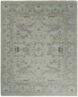 Hand Knotted 8x10 Vintage Oriental Oushak Ivory and Silver Wool Area Rug | TRDCP88810 - The Rug Decor