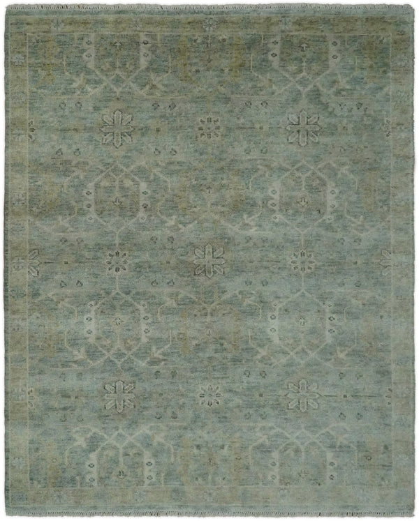 Hand Knotted 8x10 Vintage Oriental Traditional Brown and Blue Wool Area Rug | TRDCP53810 - The Rug Decor