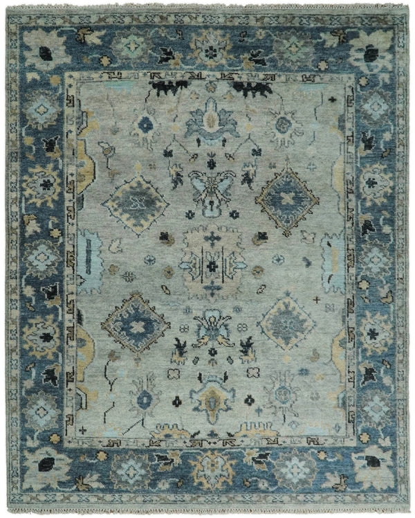 Hand Knotted 8x10 Vintage Oriental Traditional Silver and Blue Wool Area Rug | TRDCP24810 - The Rug Decor
