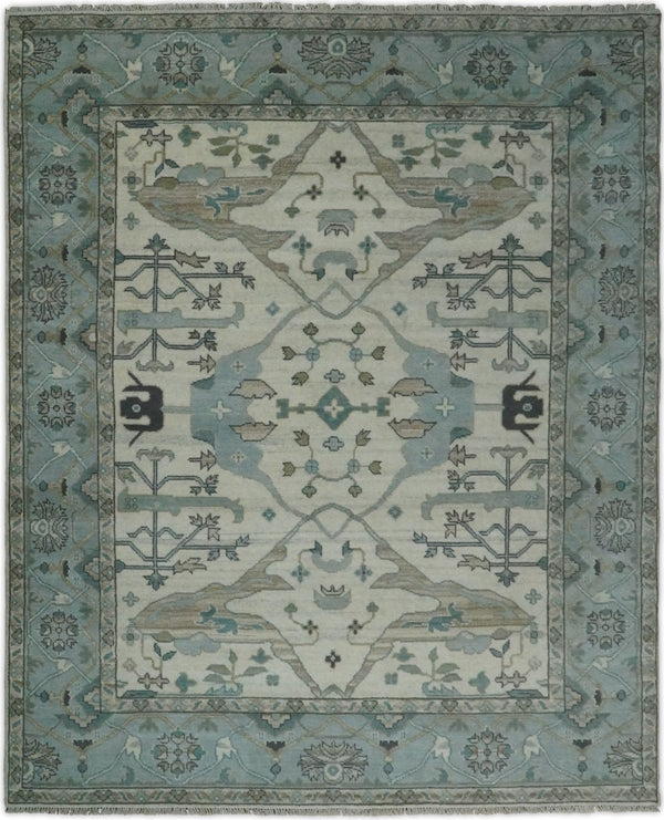 Hand Knotted 8x10 Vintage Oushak Traditional Ivory and Blue Wool Area Rug | TRDCP47810 - The Rug Decor