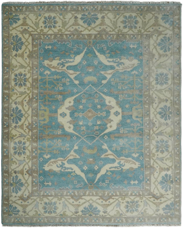 Hand Knotted 8x10 Vintage Persian Oushak Blue and Beige Wool Area Rug | TRDCP87810 - The Rug Decor