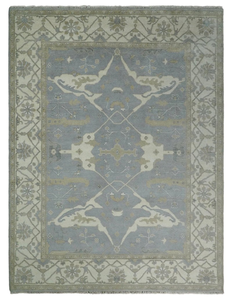 Hand Knotted 9x12 Oriental Oushak Gray and Ivory Wool Area Rug | TRDCP93912 - The Rug Decor