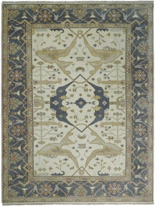 Hand Knotted 9x12 Persian Oushak Beige and Charcoal Wool Large Rug | TRDCP82912 - The Rug Decor