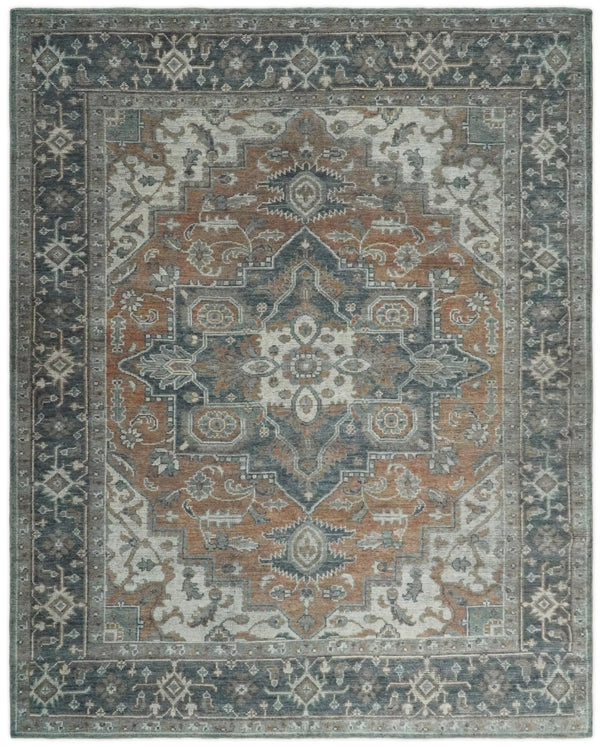 Hand Knotted Antique 8x10 Rust and Black Traditional Persian Area Rug | TRD2398 - The Rug Decor