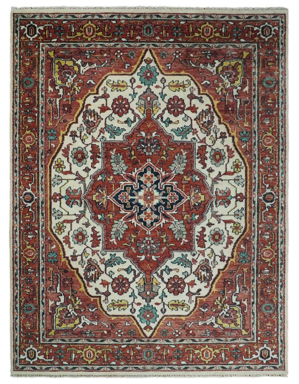 Hand Knotted Antique 9x12 Ivory and Rust Traditional Persian Area Rug | TRDCP95912 - The Rug Decor