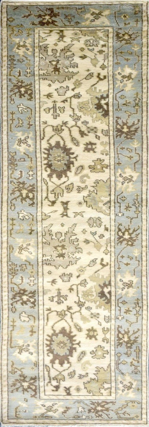 Hand Knotted Antique Oushak Wool Runner Rug - The Rug Decor
