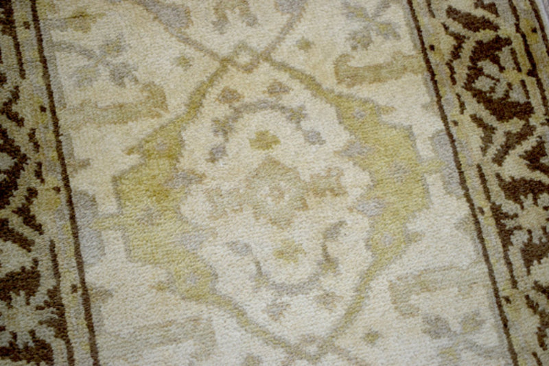 Hand Knotted Beige and Brown Antique Oushak Wool Runner Rug - The Rug Decor
