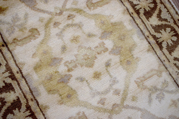 Hand Knotted Beige and Brown Oriental Oushak Wool Runner Rug - The Rug Decor