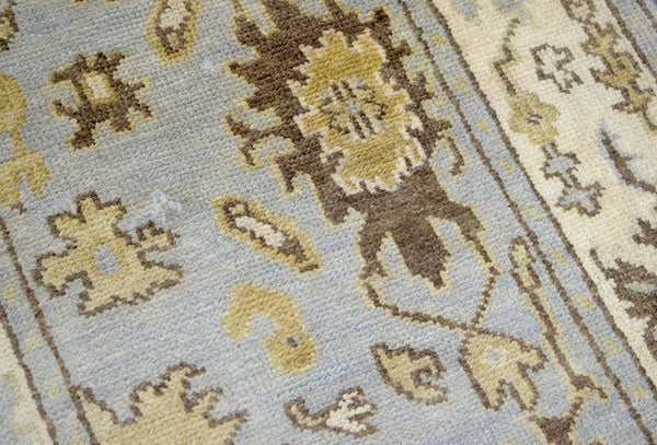 Hand Knotted Blue and Beige Antique Oushak Wool Runner Rug - The Rug Decor
