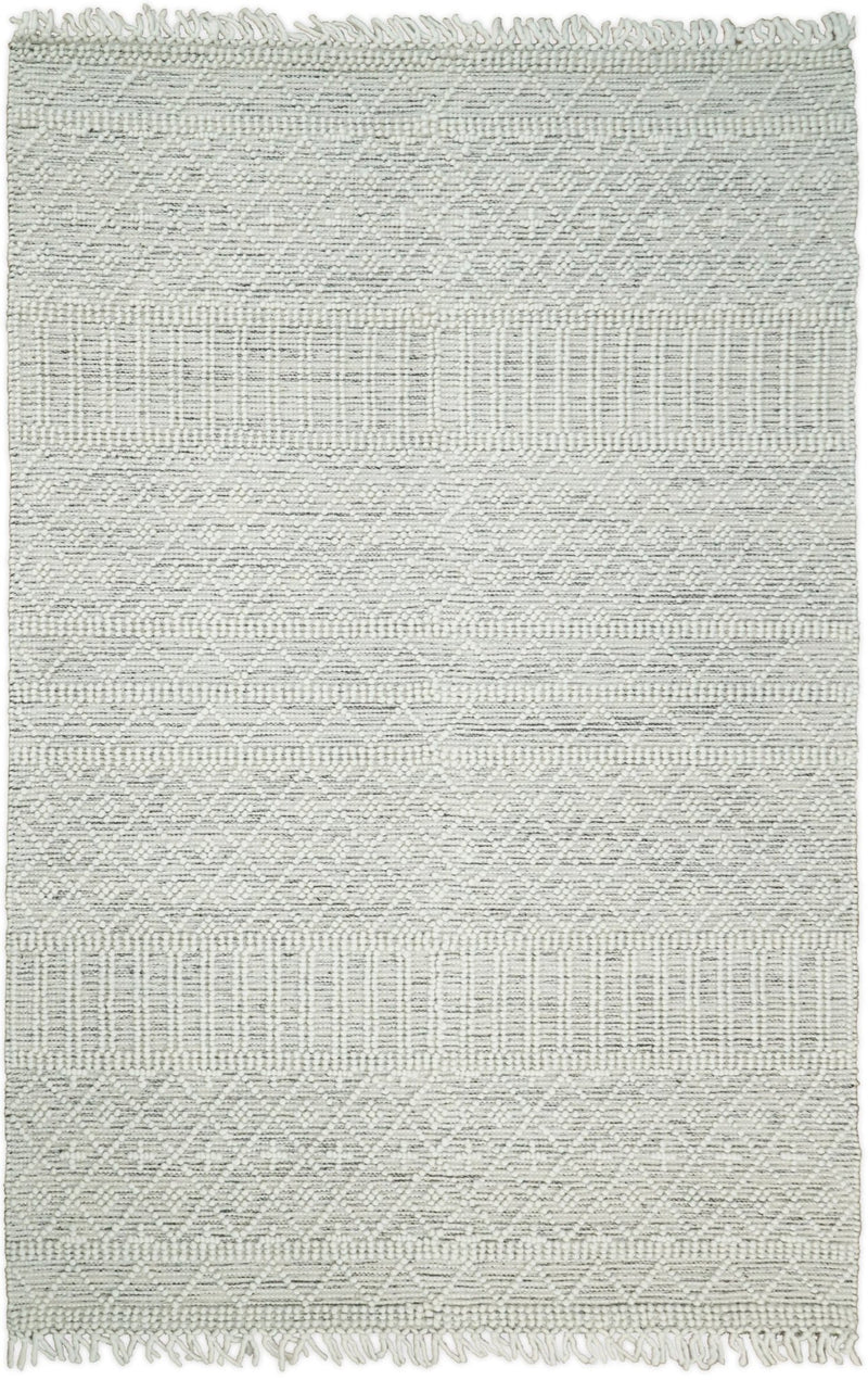 Hand Made Woolen Chunky and Soft White Wool Area Rug | CAL1 - The Rug Decor
