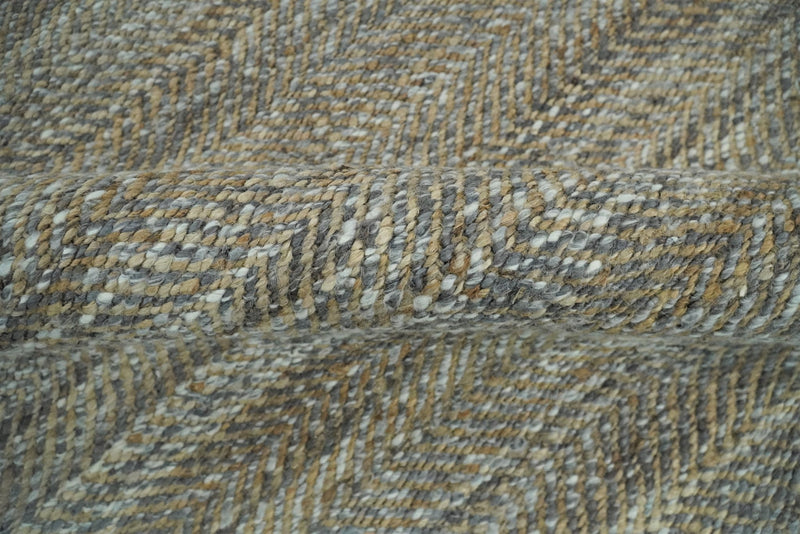 Hand Woven 100% Natural Fiber Jute and Wool Silver and Brown | JR11 - The Rug Decor