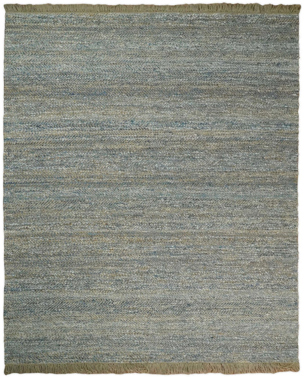 Hand Woven Natural Fiber Gray and Brown Jute and Art Silk Rug | JR9 - The Rug Decor
