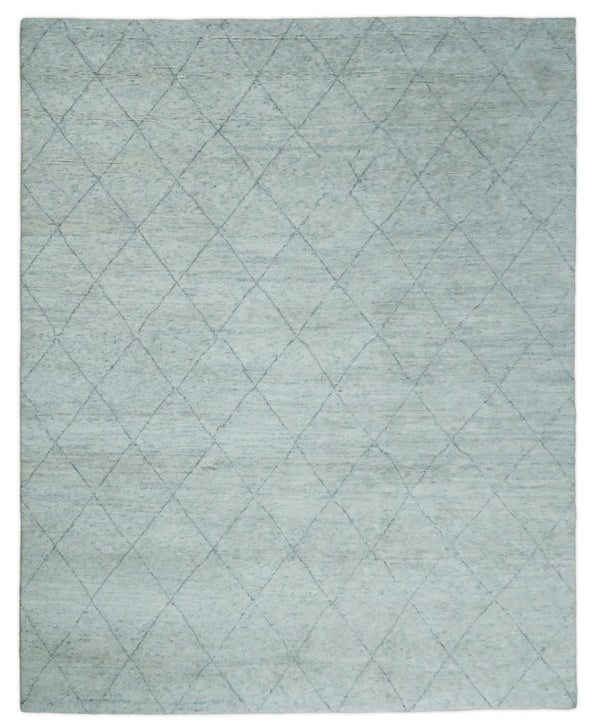 Hand Woven Silver and Gray 8x10 Trellis Moroccan Rug Made with Fine Wool | TRDCP105810 - The Rug Decor