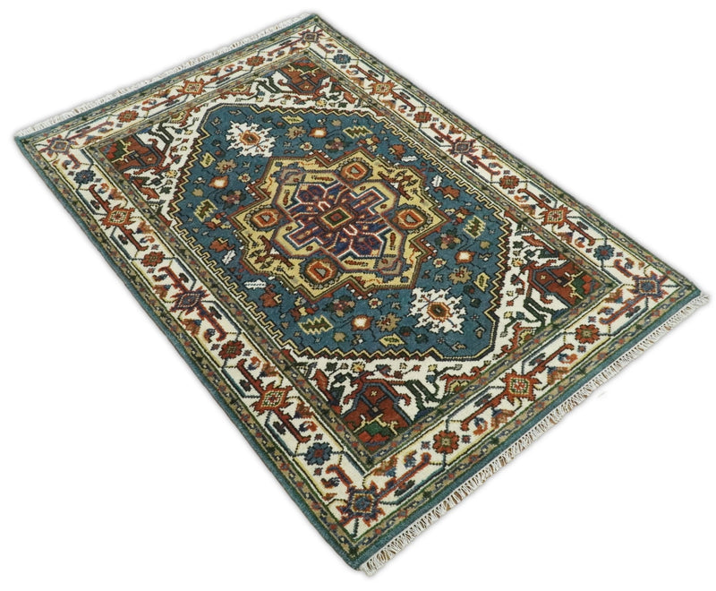 Handmade 4x6 Blue and Ivory Traditional Vintage Heriz Serapi Rug | TRDCP646 - The Rug Decor