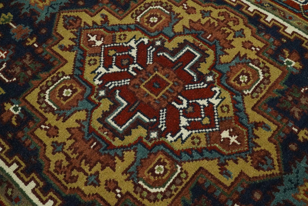 Handmade 4x6 Red and Blue Traditional Vintage Heriz Serapi Rug | TRDCP546 - The Rug Decor