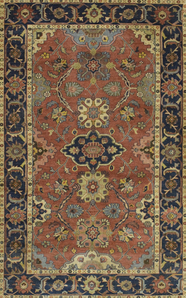 Handmade 5x8 Red and Blue Heriz Serapi Runner made with fine wool | SRP05 - The Rug Decor