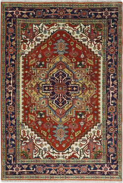 Handmade 6x9 Red and Blue Traditional Vintage Heriz Serapi Rug | TRDCP3069 - The Rug Decor
