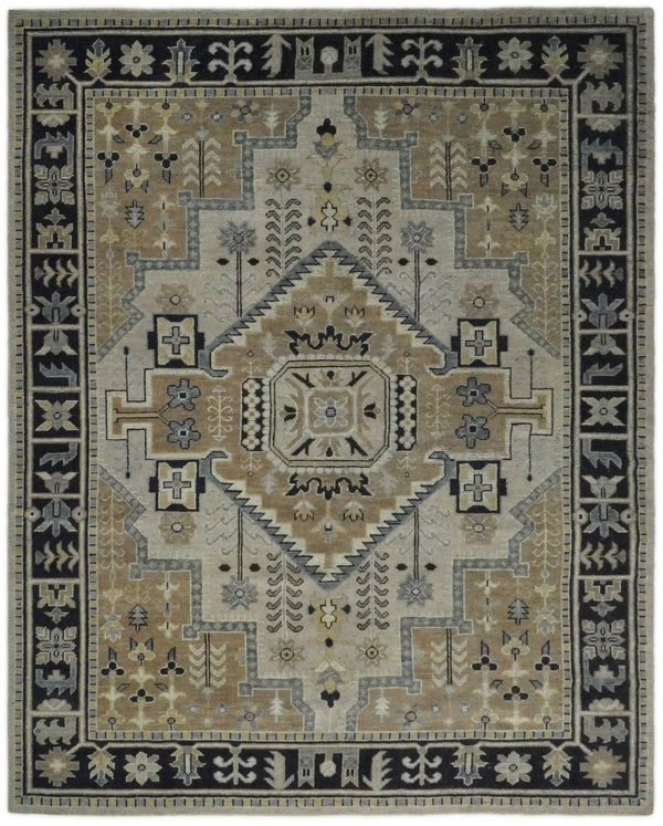 Handmade 8x10 Brown and Black Traditional Antique Area Rug | TRD2258 - The Rug Decor