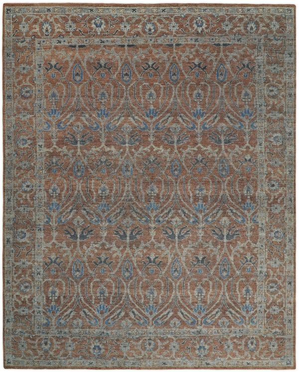 Handmade 8x10 Rust and Blue Traditional Antique Area Rug | TRD2271 - The Rug Decor