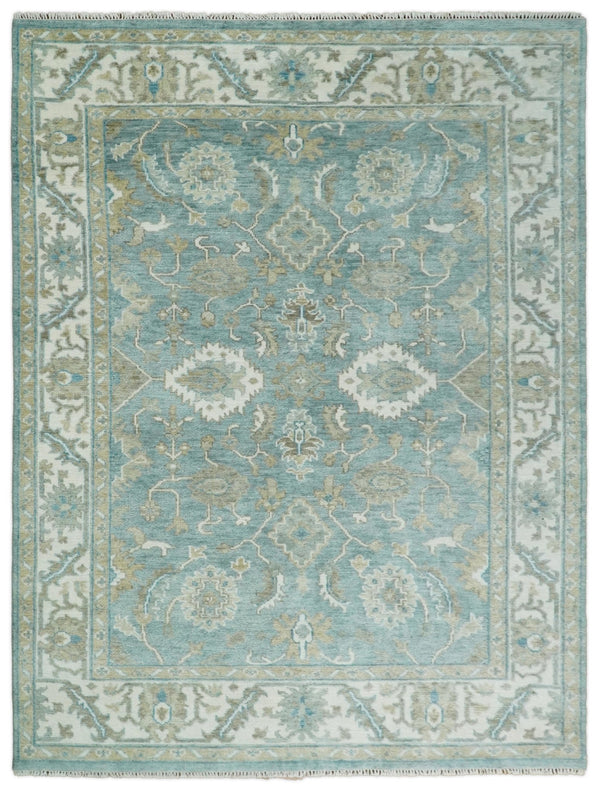Handmade 9x12 Antique Traditional Persian Blue and Ivory Area Rug | TRDCP91912 - The Rug Decor