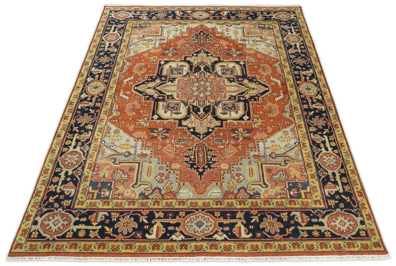Handmade 9x12 Rust and Blue Traditional Heriz Serapi Rug | TRDCP92912 - The Rug Decor