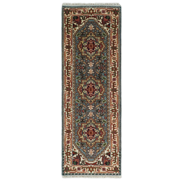 Handmade Blue and Ivory Heriz Serapi 8 Feet Runner made with wool | TRDCP41298 - The Rug Decor