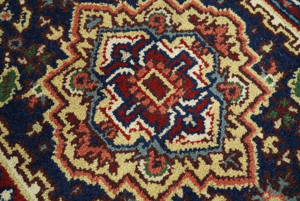Handmade Blue and Red Heriz Serapi 10 Feet Runner made with wool | TRDCP432710 - The Rug Decor