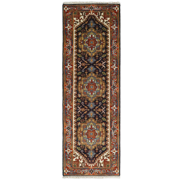 Handmade Blue and Red Heriz Serapi 8 Feet Runner made with wool | TRDCP42268 - The Rug Decor