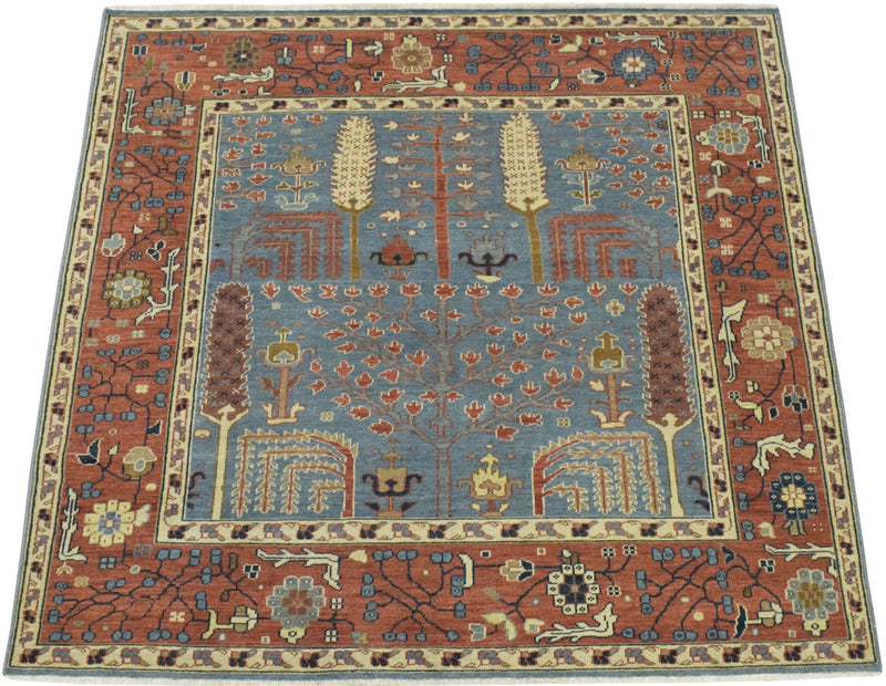 Handmade Blue and Rust Heriz Serapi Runner made with fine wool | SRP04 - The Rug Decor