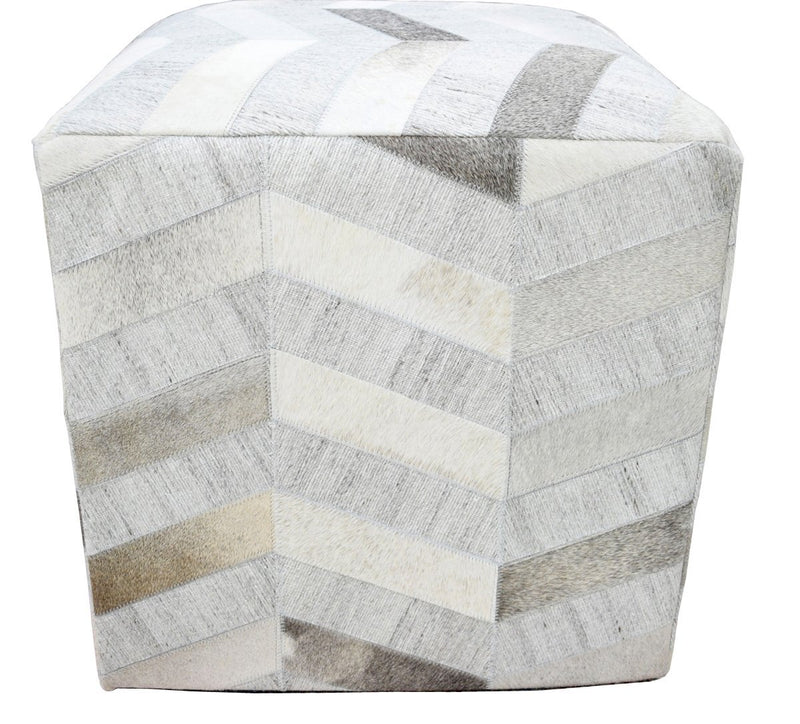 Handmade Leather & Viscose Pouf- Comfortable Chair or Footrest - Ivory Grey | TRD107 - The Rug Decor