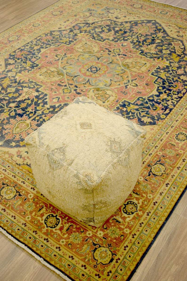Handmade Pouf - Comfortable Chair or Footrest - Beige | TRD186 - The Rug Decor