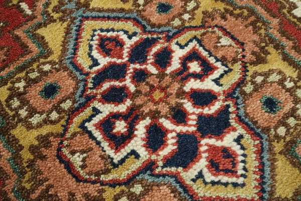 Handmade Rust and Blue Heriz Serapi 10 Feet Runner made with wool | TRDCP28278 - The Rug Decor