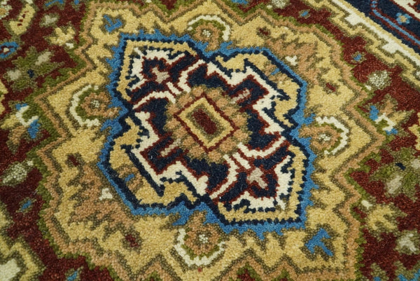 Handmade Rust and Blue Heriz Serapi 10 Feet Runner made with wool | TRDCP342910 - The Rug Decor