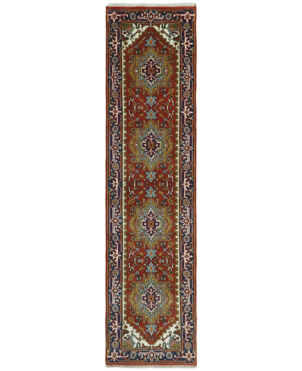 Handmade Rust and Blue Heriz Serapi 10 Feet Runner made with wool | TRDCP362610 - The Rug Decor
