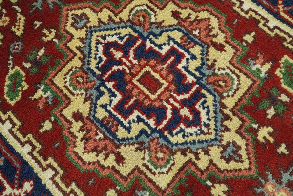 Handmade Rust and Blue Heriz Serapi 8 Feet Runner made with wool | TRDCP33278 - The Rug Decor