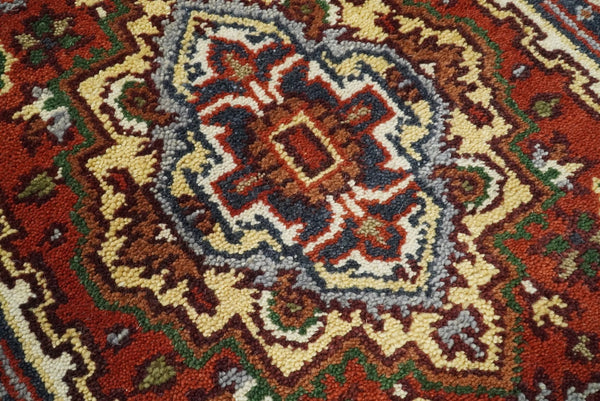 Handmade Rust and Blue Heriz Serapi 8 Feet Runner made with wool | TRDCP35298 - The Rug Decor