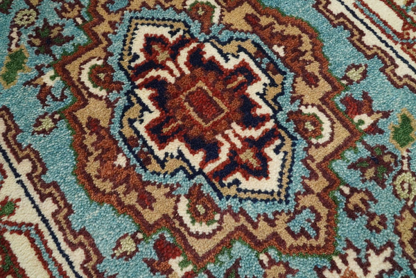 Handmade Rust and Blue Heriz Serapi 8 Feet Runner made with wool | TRDCP39268 - The Rug Decor