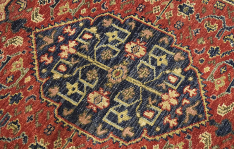 Handmade Rust and Blue Heriz Serapi Runner made with fine wool | SRP02 - The Rug Decor