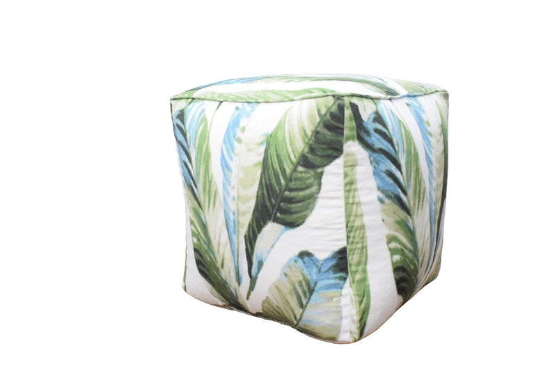 Handmade Tropical Design Outdoor and Indoor Ottoman Pouf - Footstool, Comfortable Chair or Footrest - The Rug Decor