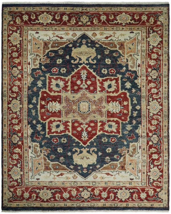 Handmade Vintage 8x10 Blue and Red Traditional Heriz Serapi Rug | TRDCP44810 - The Rug Decor