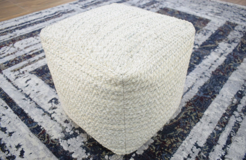 Handmade Viscose Pouf- Comfortable Chair or Footrest - Natural | TRD110 - The Rug Decor
