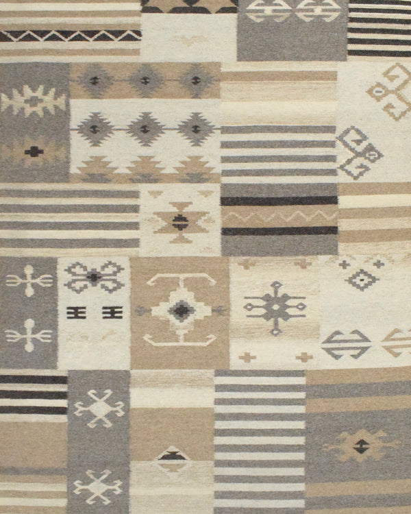 4x6, 5x8, 8x10 Dhurrie Rug, Beige Brown Tribal Pattern Rug