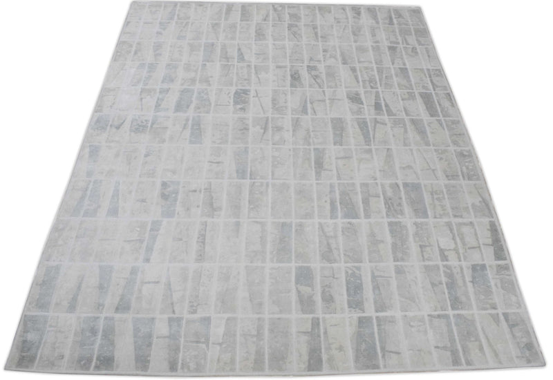 Ivory and White Handmade Area Rug Made With Fine Viscose - The Rug Decor