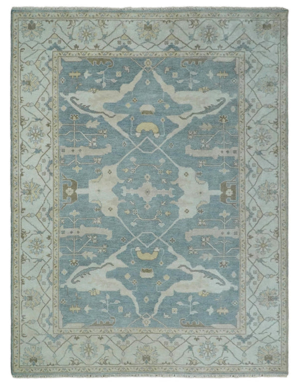 Large Hand Knotted 9x12 Vintage Persian Oushak Blue and Beige Wool Area Rug | TRDCP98912 - The Rug Decor