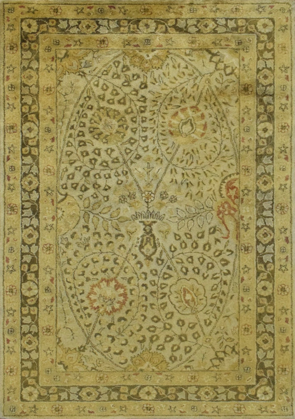 Luxury Antique Camel and Brown Floral Wool Area Rug | TUF29 - The Rug Decor