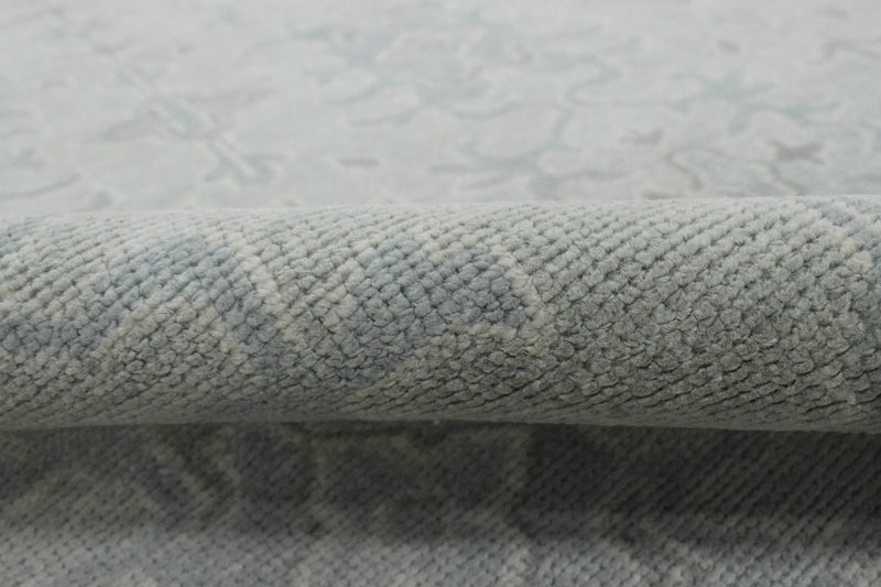 Luxury Hand knotted Wool 8x10 Gray and Green Area Rug | EMP1 - The Rug Decor