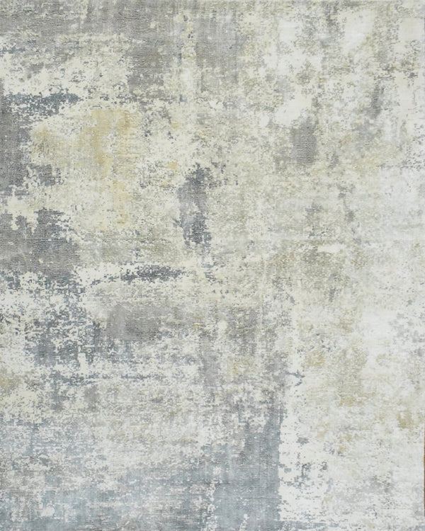 Modern Abstract Gray and Ivory Rug made with Art Silk | TRD10133 - The Rug Decor
