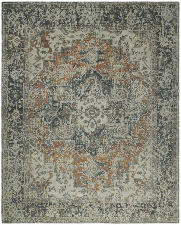 Modern Erased Heriz Hand Knotted 8x10 Rust and Silver Persian Area Rug | TRD2399 - The Rug Decor