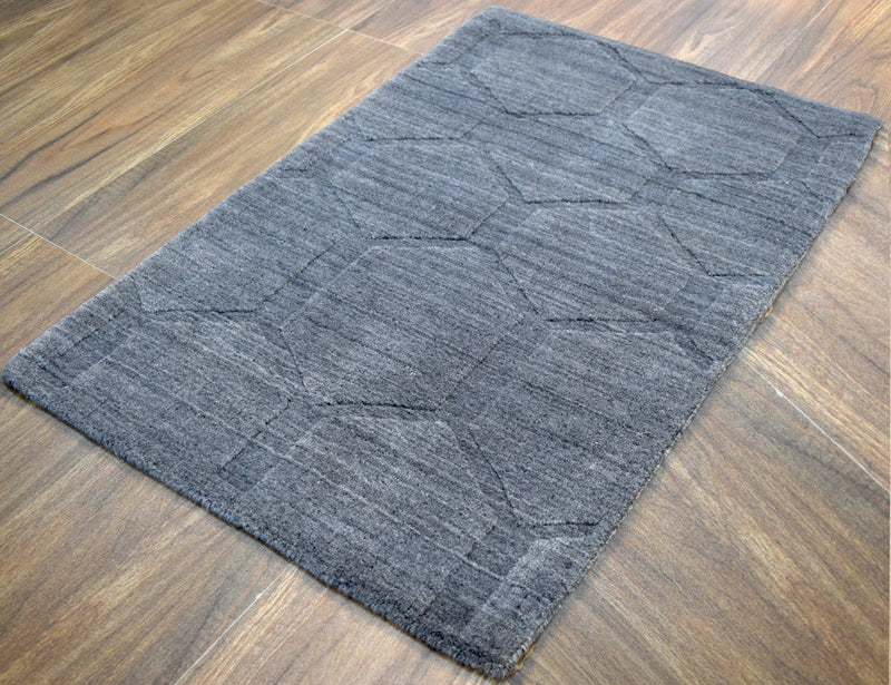 Modern Hand Loom Wool and Viscose 2' by 4' Area Rug | The Rug Decor |TRD1006523 - The Rug Decor